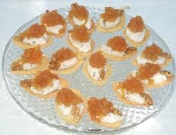 Barchette di pasta brisée con ricotta di bufala, cubetti di pere e confettura di pere e limoni