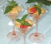 Raviolini di melanzane e salsa di datterini confit nel bicchiere