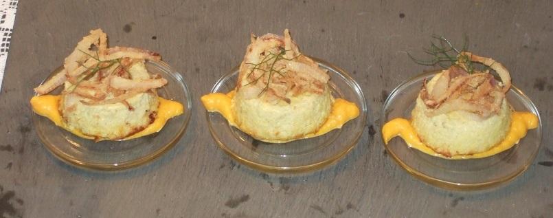 Budino di cipolle di Treschietto con salsa di carote al profumo di anice stellato