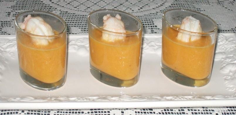 Gazpacho di melone con scampi