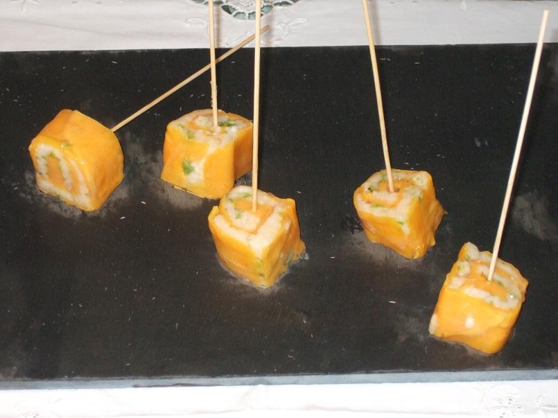 Sushi di mango, gel di lime e basilico